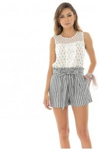 Casual striped linen shorts - TR319 - Aimelia