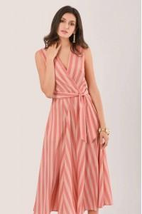 Striped Peach wrapover midi - Aimelia - DR4160