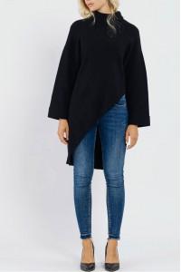 Ladies oversized Polo neck - AIMELIA - Black, BR2443