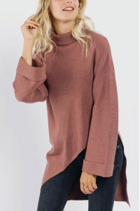 Ladies oversized Polo neck - AIMELIA - Pink, BR2444