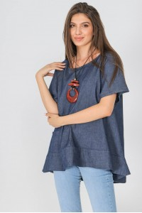 Relaxed fit casual top,Aimelia Br2426,in Denim,with a pocket.