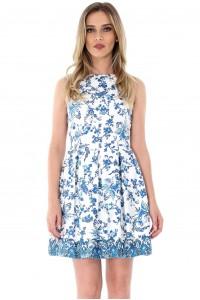 Rochie alba, ROH, cu imprimeu albastru - DR3383