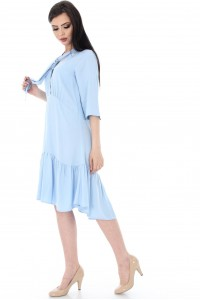 Blue Dress With Three-Quarter Sleeves by Aimelia - DR2881