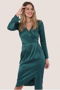 Green drape skirt wrap dress, Aimelia - DR4037