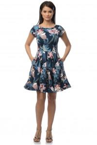 Blue dress with flower print by Aimelia- DR2919