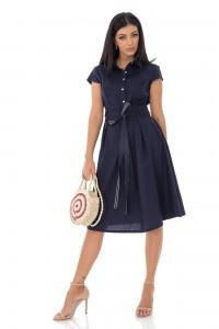 Classic style cotton shirt dress - Navy - AIMELIA - DR4218