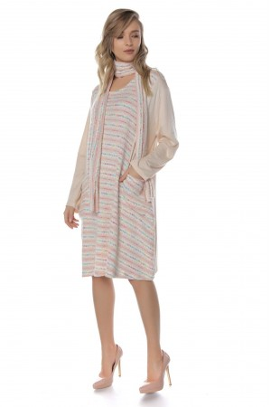 Oversized Tunic , Aimelia Dr3710, in Pale Pink, with a matching scarf.