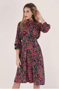 Multi floral high neck A-line dress, Aimelia - DR4035