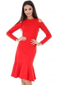 Cold shoulder Closet London Red Dress  - DR3153