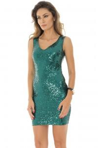 Green sequin 2 in 1 evening dress , Aimelia - DR3698