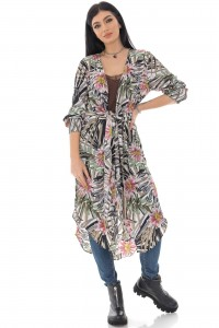 Printed floral chiffon kimono - AIMELIA - DR4253