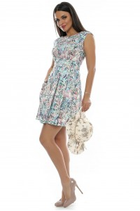 Floral Dress, Aimelia Dr2464 in cotton,with pockets.