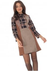 Midi checkered dress, with high collar, Aimelia - DR3998-BG