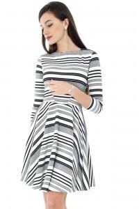 Grey & White Stripes Jersey Skater Dress Aimelia-DR3255