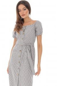 A striped cotton midi dress with pockets - Aimelia - DR3868