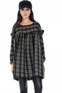 Oversized Tunic in check fabric - Aimelia - DR3194