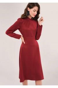 Maroon Long Sleeve High Neck Dress Aimelia - DR3972
