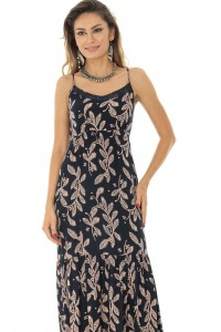 A Printed Strappy Maxi Dress - DR3891 - Aimelia