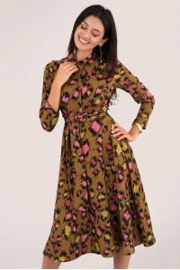 Leopard Print Midi Shirt Dress Aimelia - DR3973