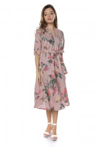 Pink midi floral dress Aimelia - DR3738
