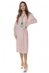 Rochie midi, roz pal, simpla, ROH - DR3722
