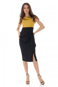 SLEEVELESS GOLD AND BLACK MIDI EVENING DRESS - AIMELIA