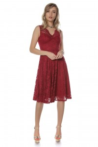 Elegant lace midi, Aimelia Dr3696, in Wine, with a cut out back.