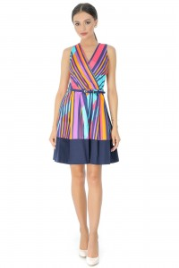 Striped skater dress, Aimelia Dr3454, in cotton.