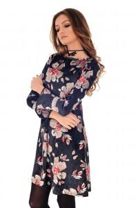 Printed velvet swing style dress - Aimelia - DR3691