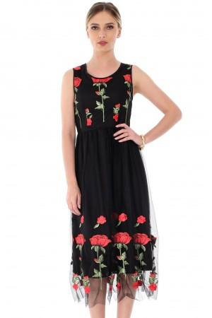 Rochie neagra, ROH, cu trandafiri - DR3349