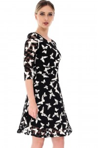 Black midi dress with lace Aimelia - DR3362