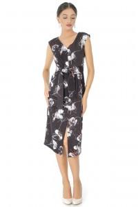 Closet printed satin wrapover dress, black - AIMELIA -  DR3451