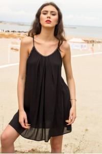 Lightweight sun dress, Aimelia Dr3912, in Black, with a cross back.