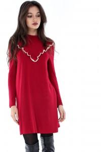 Casual wine midi dress by Aimelia-DR3235