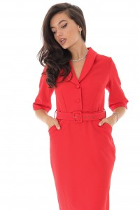 Red Collared Wrap Top Midi Dress with Belt - Aimelia - DR3909