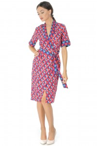 Red geometric wrap dress Aimelia - DR3444