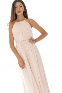 Grecian style maxi dress ,Aimelia Dr3947, in a Blush Pink, with a diamante belt.