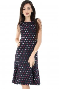 Navy Polka Dot Sleeveless Pephem Dress Aimelia-DR3254
