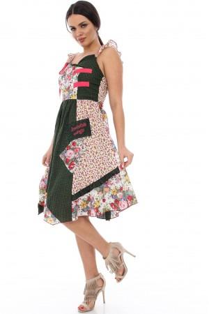 Rochie verde cu roz, de vara - DR2800