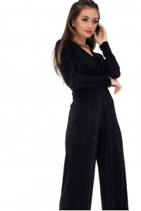Black pleated jumpsuit with long sleeves - AIMELIA - DR295