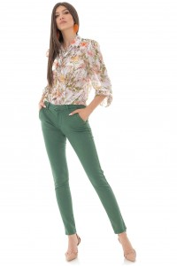 Straight leg trousers, Aimelia Tr438, in Green, with front pockets
