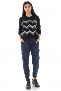 Pantaloni de dama, largi, comfortabili, bleumarin - ROH - TR421