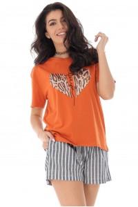 Orange t-shirt with heart shape - AIMELIA - BR2313