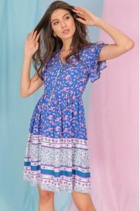 Tunic style dress,Aimelia Dr4289, in a multi Blue border print.