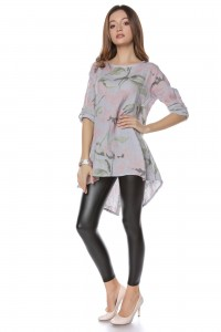 Tunic, grey with floral print, linen - Aimelia - DR3711