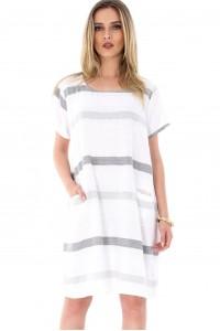 White tunic with stripes Aimelia - DR3365