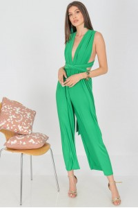 Versatile jumpsuit  ,Aimelia Tr439, in Jade Green, with a wide leg.