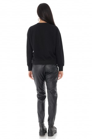 Ladies sweatshirt - AIMELIA - contrasting gold logo, Black, BR2349