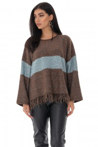 Ladies oversize casual jumper - AIMELIA - contrasting stripe, Brown , BR2350