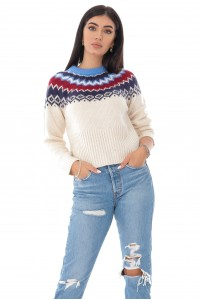 Ladies seasonal jumper - AIMELIA - fair isle weave, Cream, BR2351